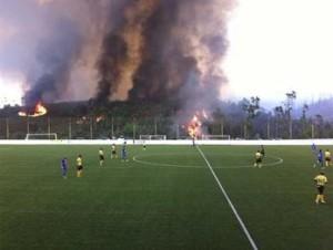 Incêndio junto ao campo do Sousense / Direitos Reservados