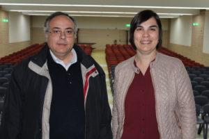 Padre Fernando Rosas e Maria José Cardoso no Salão Paroquial / Foto: Pedro Santos Ferreira